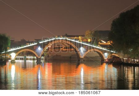 Shangtang historical area and canal night cityscape in Suzhou China