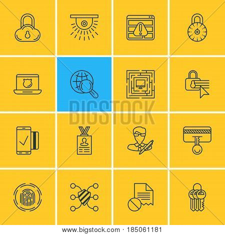 Vector Illustration Of 16 Internet Security Icons. Editable Pack Of Browser Warning, Internet Surfing, Confidentiality Options And Other Elements.