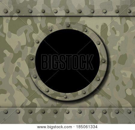 porthole window on military metal background 3d illustration