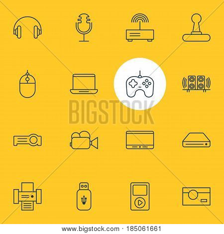 Vector Illustration Of 16 Accessory Icons. Editable Pack Of Loudspeaker, Monitor, Joypad And Other Elements.
