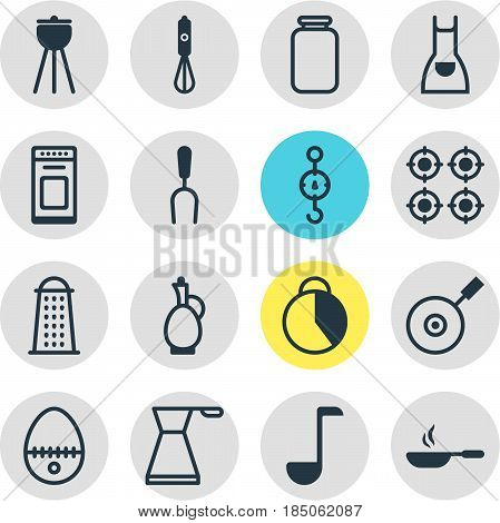 Vector Illustration Of 16 Cooking Icons. Editable Pack Of Barbecue Tool, Furnace, Barbecue And Other Elements.