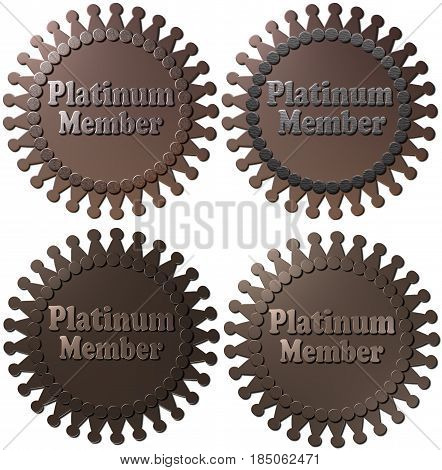 A set of four 3D Platinum Member Seals in different formats