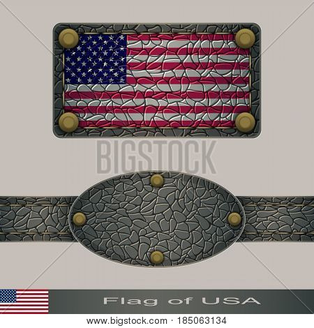 Label of a flag of USA. Set stylized as leather of objects.