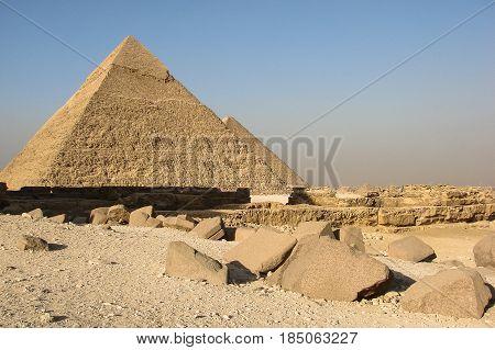 Pyramids of Khafre and Khufu on the plateau Giza.