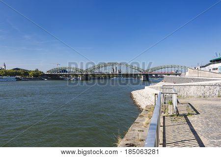 Cologne Hohenzollern Bridge And Rhine River, Germany, Editorial