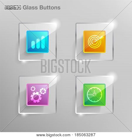 Glass square button For use in graphics such as web design, graphics, finance, banking, communications industry.