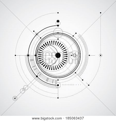 Monochrome geometric technology vector drawing technical abstract scheme of engine or engineering mechanism.