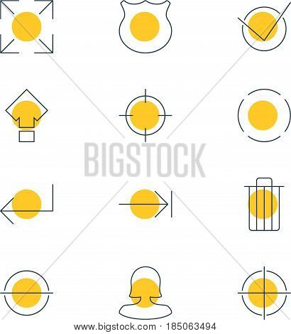Vector Illustration Of 12 User Interface Icons. Editable Pack Of Remove, Accsess, Displacement And Other Elements.