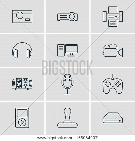 Vector Illustration Of 12 Gadget Icons. Editable Pack Of Photography, Media Controller, Sound Recording And Other Elements.
