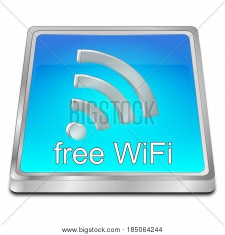 glossy blue free wireless WiFi button - 3D illustration