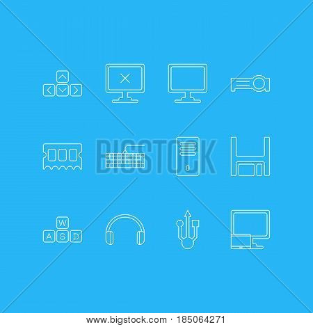 Vector Illustration Of 12 Laptop Icons. Editable Pack Of Tablet With PC, Qwerty Board, Screen And Other Elements.