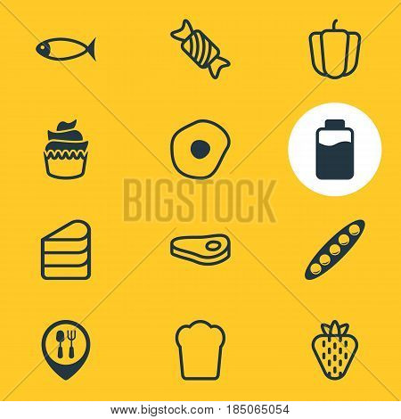 Vector Illustration Of 12 Food Icons. Editable Pack Of Dessert, Patisserie, Sirloin And Other Elements.