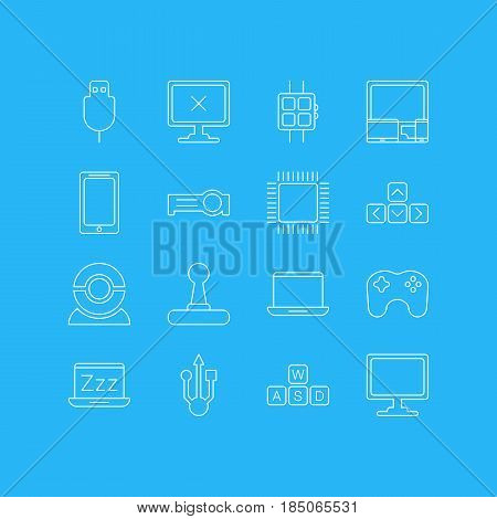 Vector Illustration Of 16 Computer Icons. Editable Pack Of Smartphone, Modern Watch, Presentation And Other Elements.