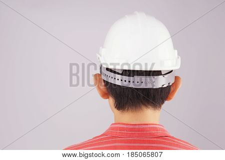 Engineer Wear Red Shirt And White Engineer Hat Turn Back