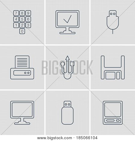 Vector Illustration Of 9 Laptop Icons. Editable Pack Of Pda, Online Computer, Serial Bus And Other Elements.