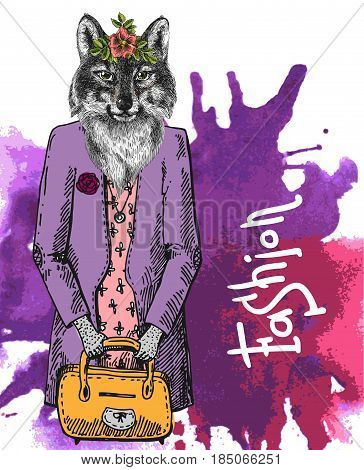 Fashion woolf. Vector illustration for greeting card, poster, or print on clothes. Drawing by hand. Hipster.
