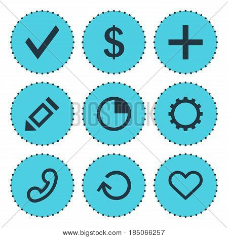 Vector Illustration Of 9 Member Icons. Editable Pack Of Emotion, Renovate, Pen And Other Elements.