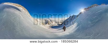 360 Cylindrical Panorama Of Mountain Hiker To Climb A Mountain Of Snow Couloir