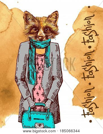 Fox in jacket. Vector illustration for greeting card, poster, or print on clothes. Fashion Style drawing. Hipster.