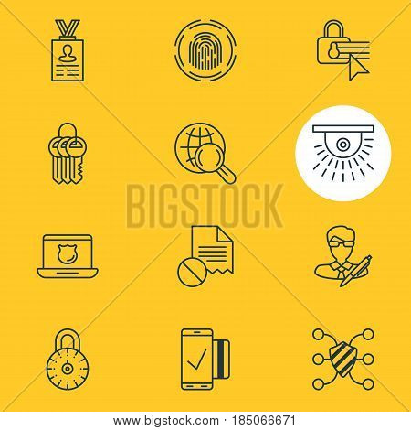 Vector Illustration Of 12 Web Safety Icons. Editable Pack Of Easy Payment, Finger Identifier, Internet Surfing And Other Elements.