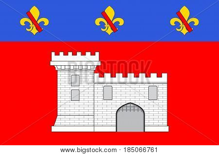 Flag of Villefranche-sur-Saone is a commune in the Rhone department in eastern France. Vector illustration