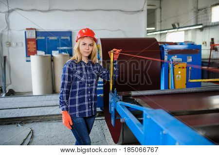Beautiful Woman In Red Safety Helmet Work As Industrial Worker