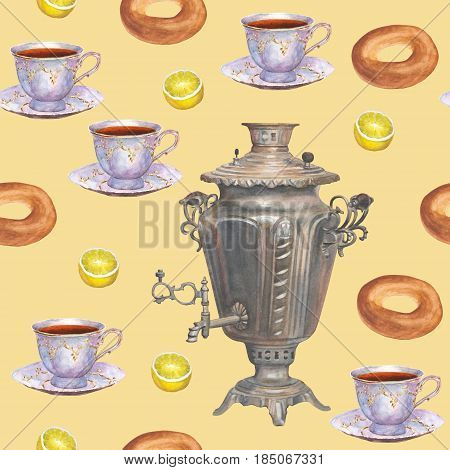 Watercolor hand drawn background seamless pattern tea theme with russian samovar porcelain cups of tea bagels and lemons