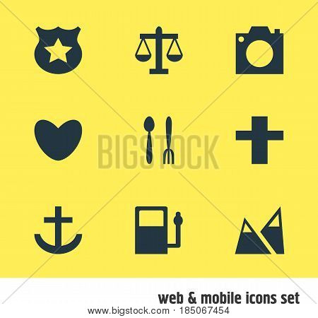 Vector Illustration Of 9 Map Icons. Editable Pack Of Scales, Anchor, Cafe And Other Elements.