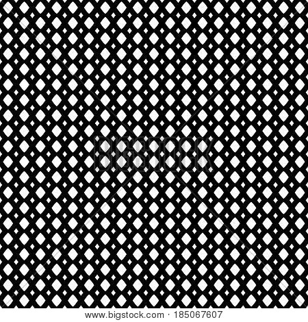 Vector monochrome geometric texture, black & white seamless pattern, simple illustration of mesh, lattice, tissue structure. Abstract repeat background. Design element for prints, textile, decoration