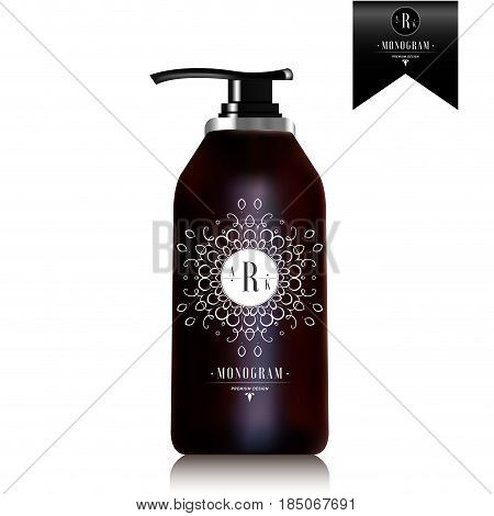 Realistic black bottle of liquid soap. Cosmetic bottle for a cream, shampoo, oil, gel, soap, balsam. Mock up. Label design for container. Batcher