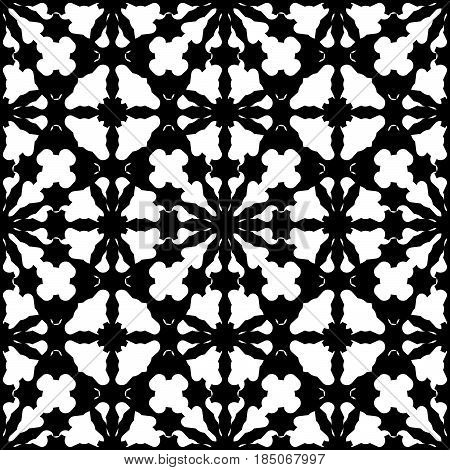 Vector monochrome texture, abstract black & white specular ornament. Illustration of lattice in oriental style, repeat tiles. Smooth geometric seamless pattern. Design element for prints, decoration