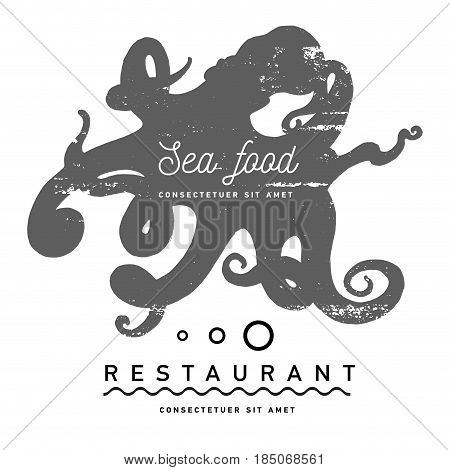 Hand drawing octopus label. Vintage design vector illustration, logo, badge, emblem, insignia, sign, identity, logotype, poster for restaurant royalty boutique hotel heraldic jewelry shop
