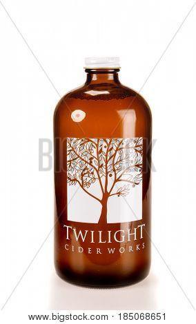 Colbert, WA - April 23, 2017: Bottle of Twilight Cider Works hard Cider on white -illustrative editorial