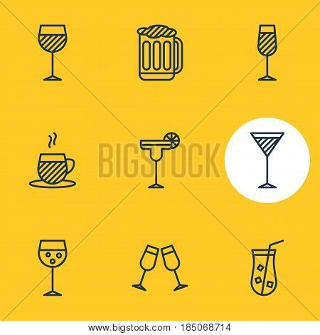 Vector Illustration Of 9  Icons. Editable Pack Of Celebrate, Martini, Wineglass And Other Elements.
