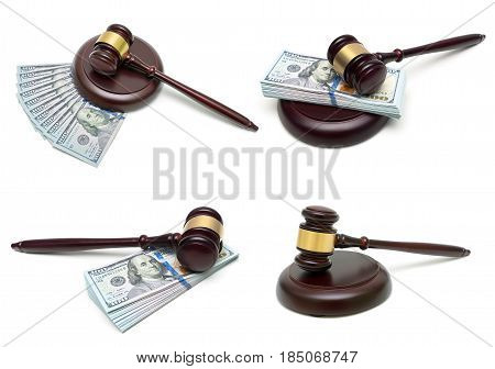 Judge hammer and money isolated on white background. Horizontal photo.