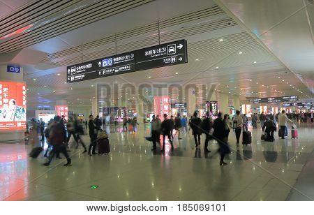 HANGZHOU CHINA - NOVEMBER 4, 2016: Unidentified people travel at Hangzhou train station.
