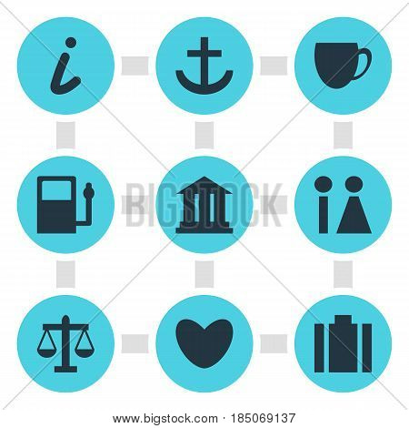 Vector Illustration Of 9 Travel Icons. Editable Pack Of Scales, Anchor, Coffee Shop And Other Elements.