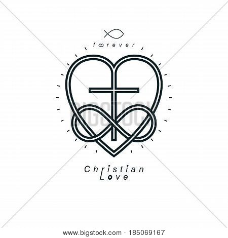 True Infinite Christian Love And Belief In God, Vector Creative Symbol Design, Combined With Infinit