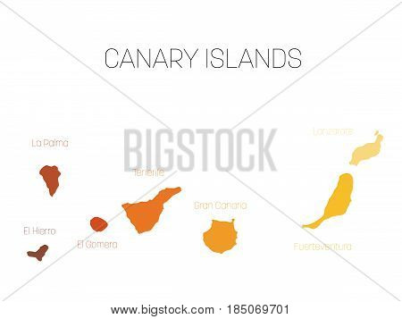 Map of Canary Islands, Spain, with labels of each island - El Hierro, La Palma, La Gomera, Tenerife, Gran Canaria, Fuerteventura and Lanzarote. Vector silhouette on white background.