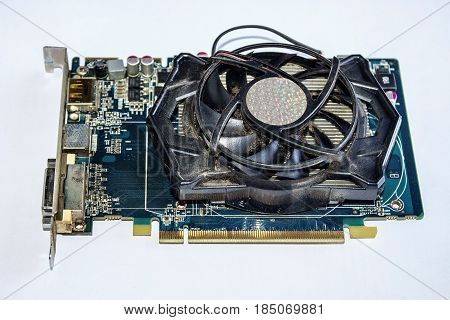 Video card close-up on a white background