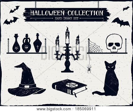 Hand drawn textured Halloween set of witch hat vials candlestick skull and cat illustrations.