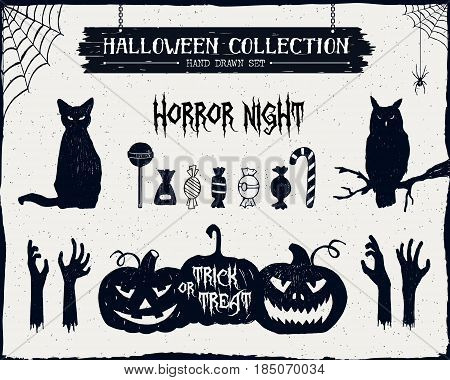 Hand drawn textured Halloween set of black cat owl candies zombie hands and jack-o-lanterns illustrations.