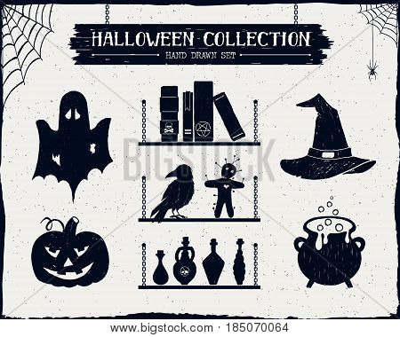 Hand drawn textured Halloween set of ghost jack-o-lantern spell books witch hat cauldron and potion vials illustrations.