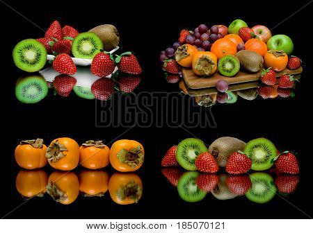 Ripe juicy fruit on a black background. Horizontal photo.