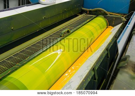 Offset Cylinder Cmyk Print Printer Printing Industry Black Magenta Yellow Blue