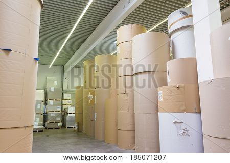 Paper Rolls Storage Massive Cylinders Factory Offset Printer Industry Equipment