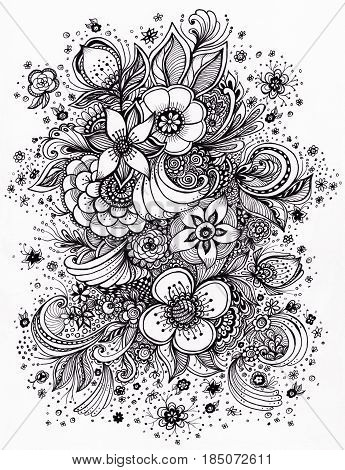 Abstract Flowers Bucket Authentic handmade graphic  in Zen-doodle style for coloring