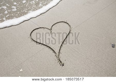 Heart Shape in the Sand at the Beach