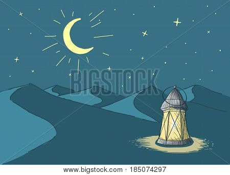 Luminous lantern stands in the desert at night sky.Cartoon style.Ramadan Kareem vector illustration