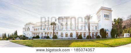 Panorama of Livadia Palace in Crimea. Summer manor of the last Russian tsar Nicholas II. Architectural monument. Russia.
